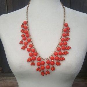 J. Crew Orange Bead Bib Necklace